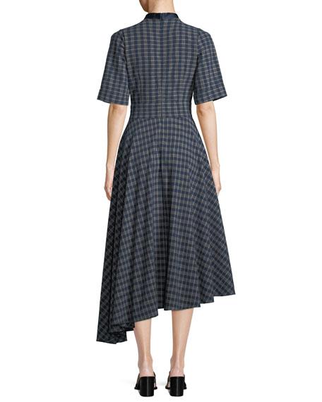 Kasuri Short-Sleeve Check Denim Dress w/ Asymmetric Hem