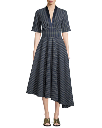 Kasuri Short-Sleeve Check Denim Dress w/ Asymmetric Hem