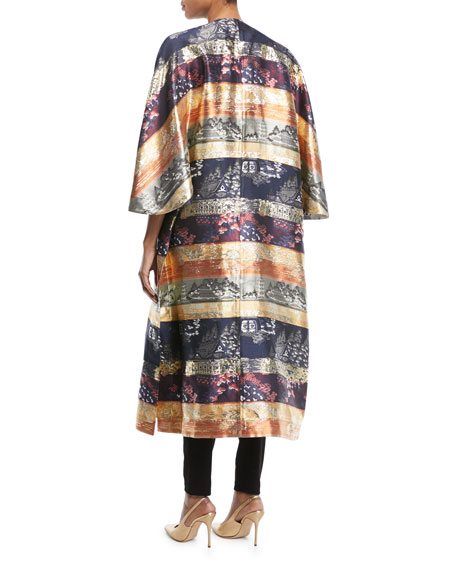 One-Button Silk-Lame Multipattern Jacquard Reversible Coat