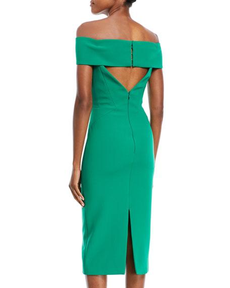 Off-the-Shoulder Crepe Cocktail Dress