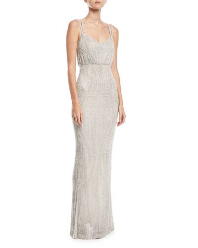 Beaded Tulle Empire Gown