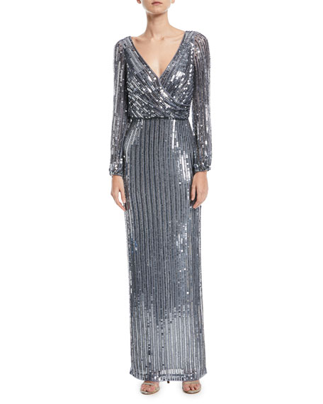Sequined Long-Sleeve Blouson Gown