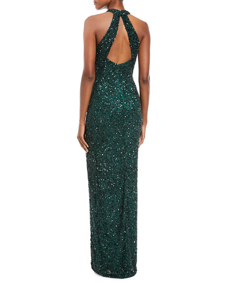 Sequined High-Neck Halter Gown