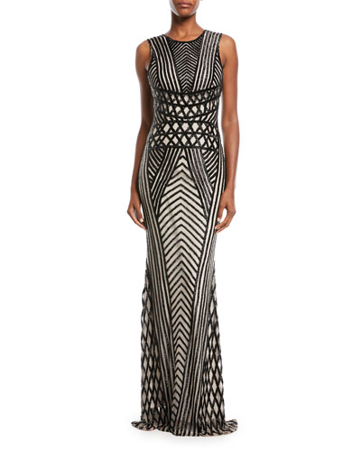 Sequined Sleeveless Scoop-Back Gown