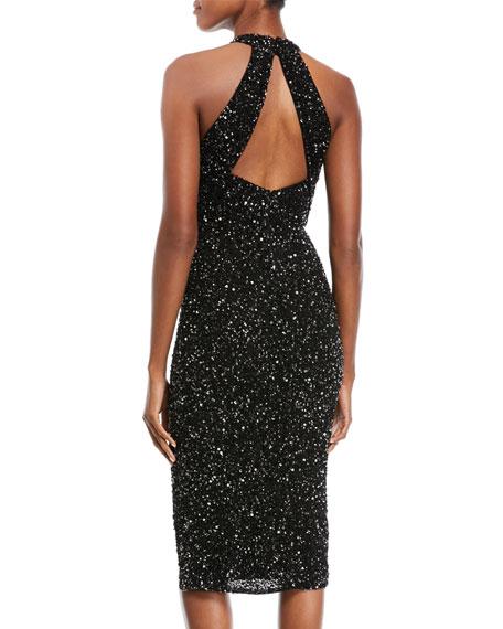 Sequined High-Neck Halter Cocktail Dress