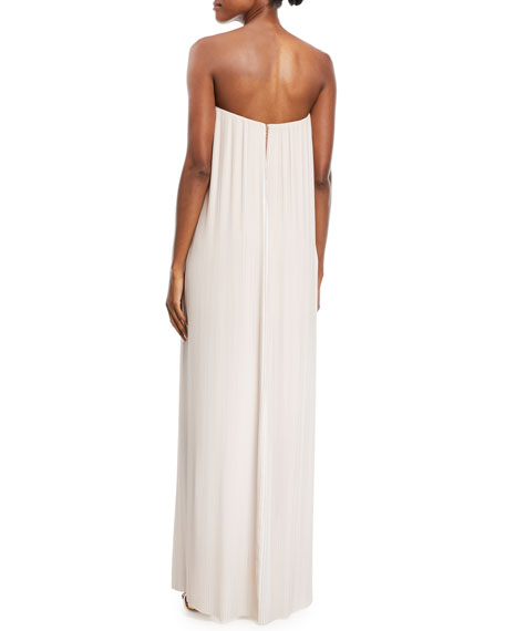 Strapless Pleated Column Gown