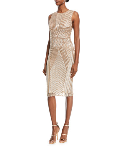 Sequined Sleeveless Scoop-Back Cocktail Dress