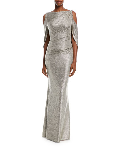 Ponceau Metallic Cold-Shoulder Gown
