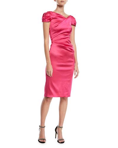 Pollex Satin Cap-Sleeve Cocktail Dress