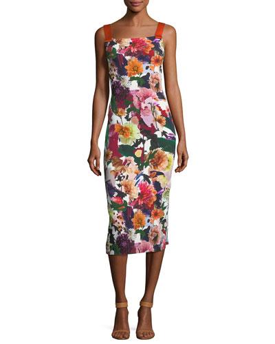 Floral Ribbon-Strap Midi Dress
