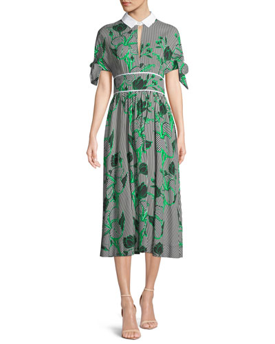Striped Tie-Sleeve Shirtdress with Leaf Embroidery