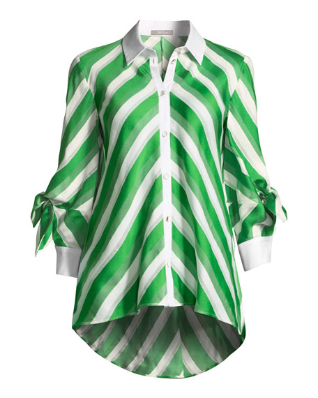 Bow-Sleeve Striped Satin High-Low Shirt