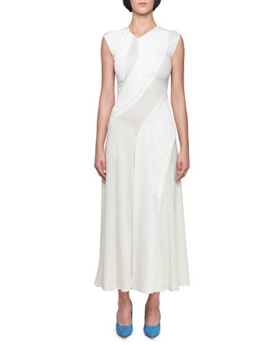 Sleeveless Asymmetric Jacquard Dress