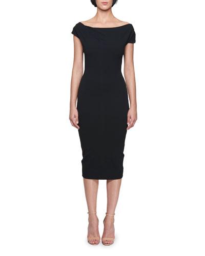 Off-the-Shoulder Knee-Length Jersey Sheath Dress