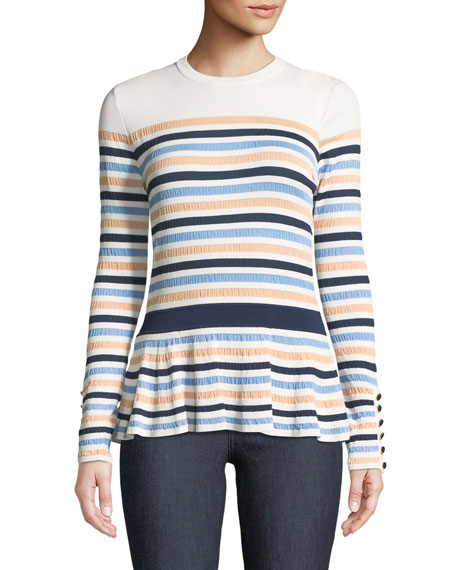 Striped Knit Peplum Top