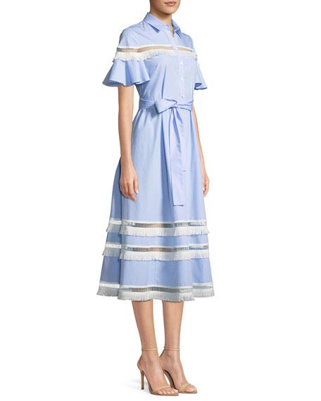 Flutter-Sleeve Button-Down Cotton Pinstripe Shirtdress w/ Fringe Trim