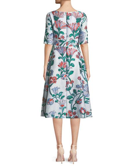 Floral Matelasse Elbow-Sleeve Dress