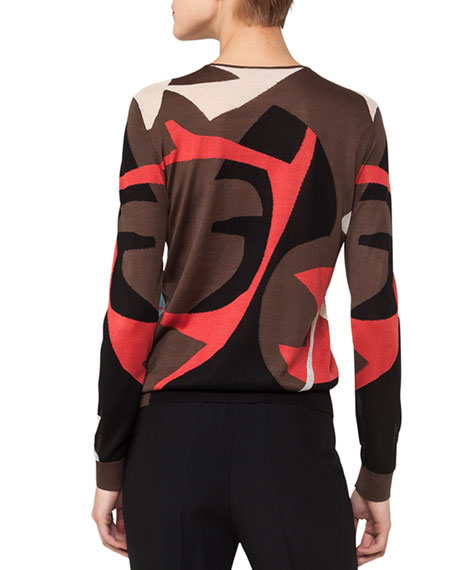 Crewneck Long-Sleeve Intarsia Knit Pullover
