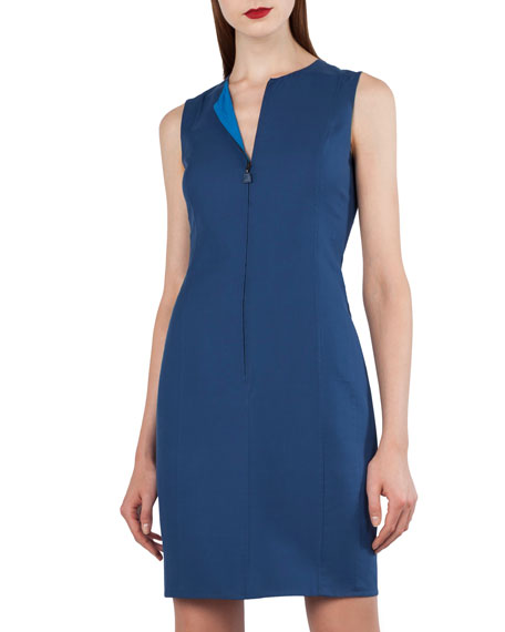Zip-Front Sleeveless Bicolor Reversible Sheath Dress