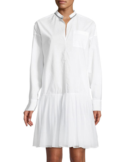 Monili-Trim Drop-Waist Shirtdress