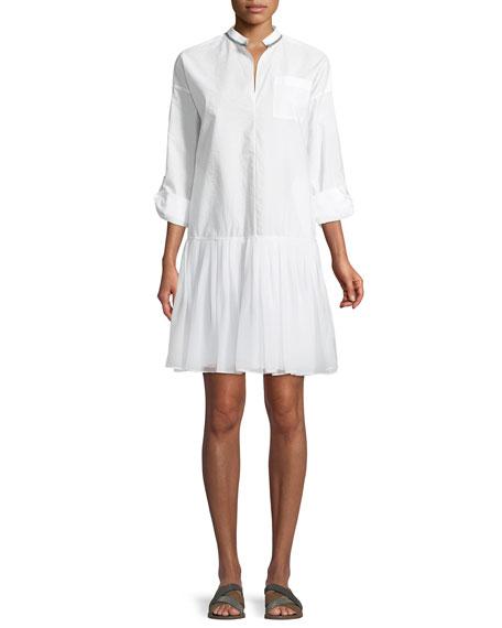 Monili-Trim Drop-Waist Shirtdress