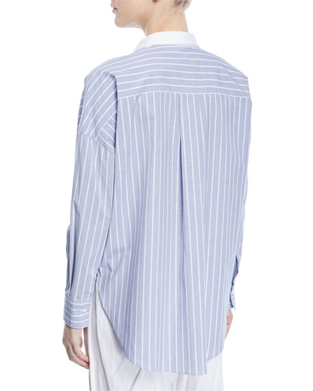 Striped Monili-Pocket Blouse