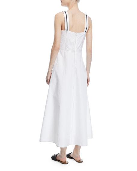 Sleeveless Ribbon-Trim Poplin Midi Dress
