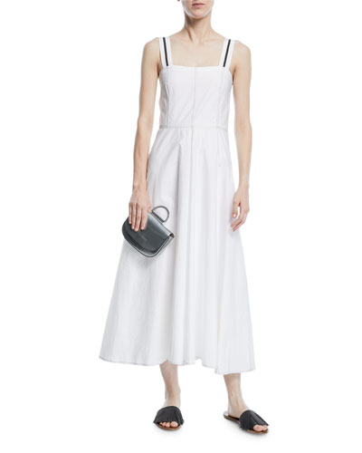 Sleeveless Ribbon-Trim Poplin Midi Dress