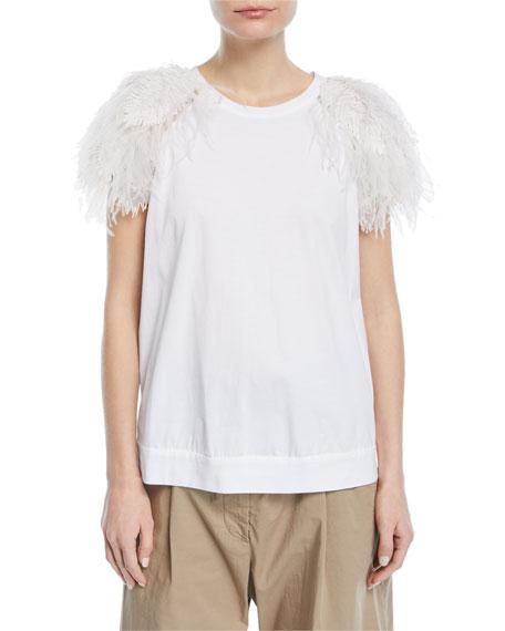 Feather-Trim T-Shirt