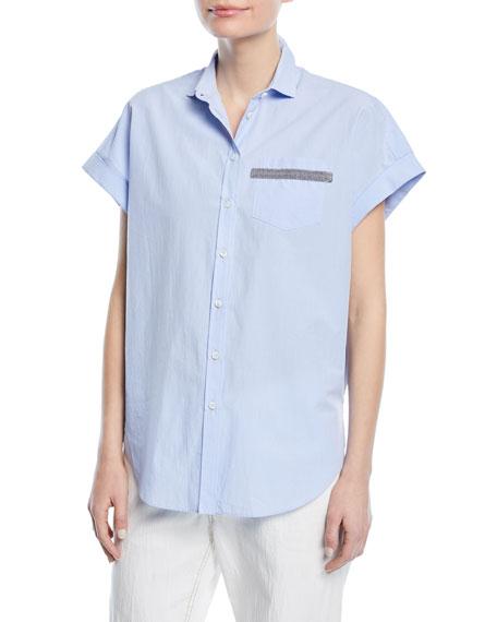 Monili-Pocket Chambray Cap-Sleeve Blouse