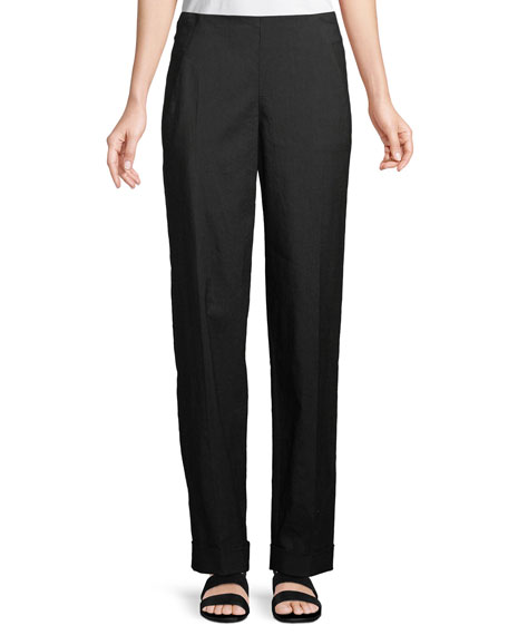 Slim Straight-Leg Stretch-Linen Pants