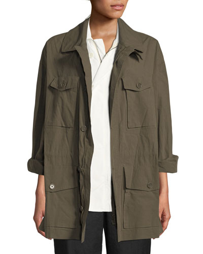 Button-Down Belted Poplin Safari Jacket