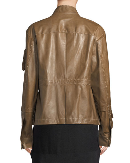 Button-Down Lamb Leather Anorak Jacket