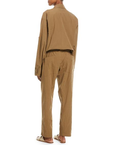 Long-Sleeve Poplin Safari Jumpsuit