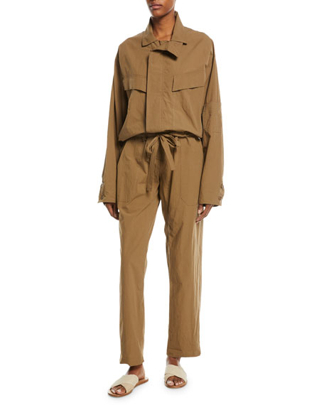 Long-Sleeve Poplin Safari Jumpsuit