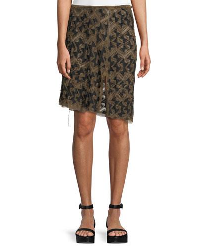 Embroidered Silk-Linen Skirt