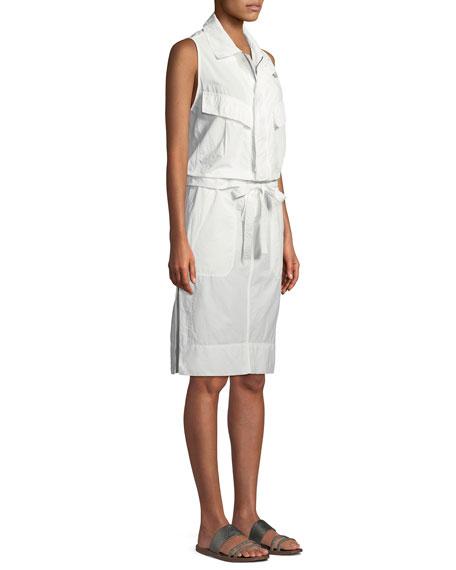 Sleeveless Tie-Waist Cotton Poplin Safari Dress