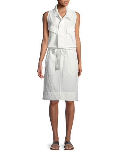 Sleeveless Tie-Waist Cotton Poplin Safari Dress