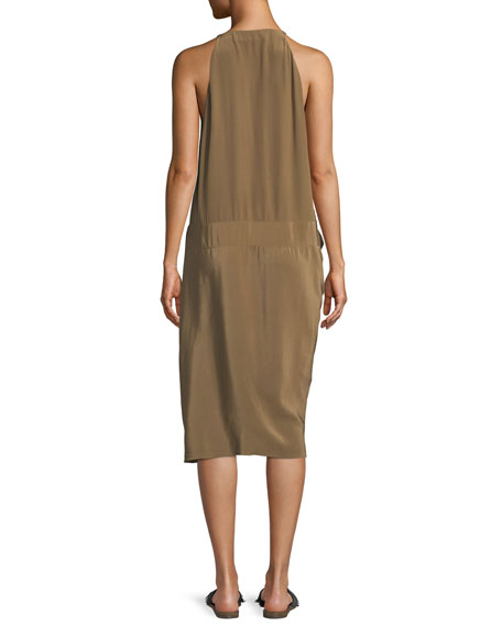 Washed Silk Drape-Front Dress