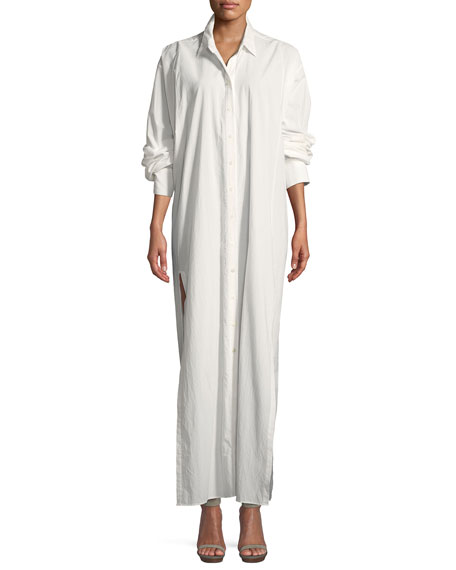 Lantern-Sleeve Side-Slit Shirtdress