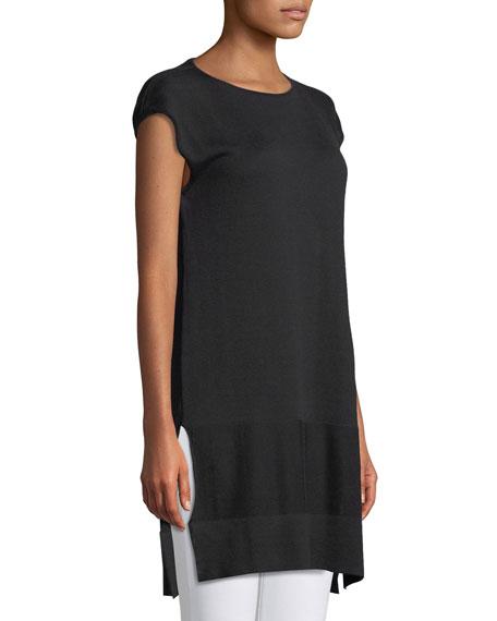Round-Neck Cap-Sleeve Silk-Cotton Knit Top