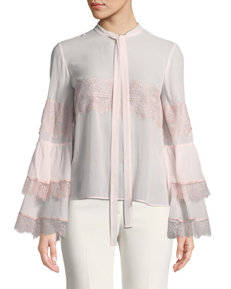 Long-Sleeve Ruffle Blouse w/ Necktie