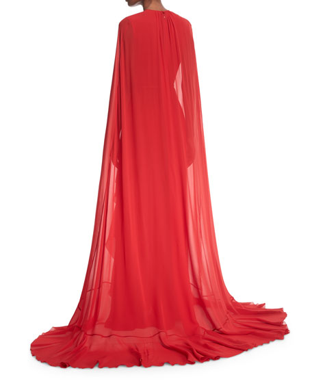 Ruffle Cape Gown