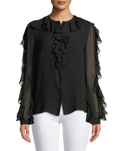 Long-Sleeve Ruffle Silk Chiffon Blouse