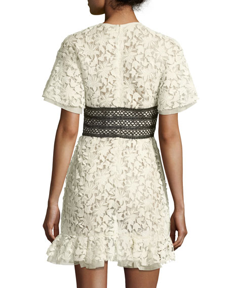 Short-Sleeve Lace Dress w/ Ruffle Hem