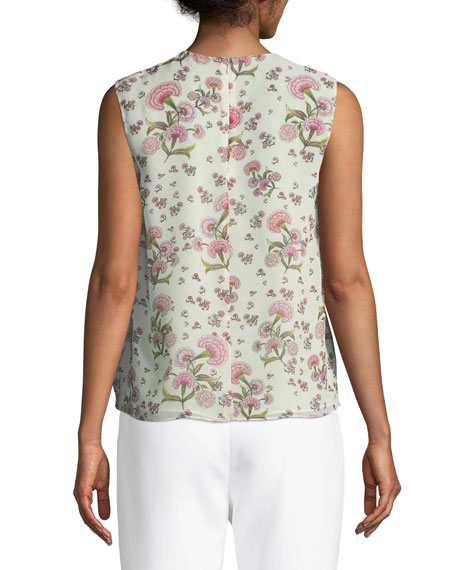 Sleeveless Floral-Print Silk Shell