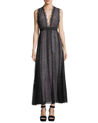 Sleeveless Deep-V Tea-Length Gown w/ Lace Overlay