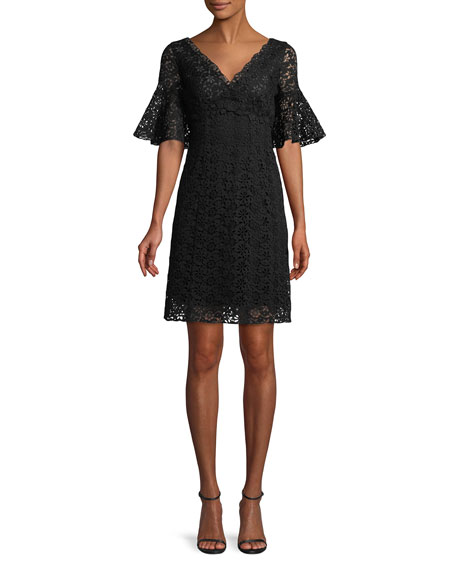 Flare-Sleeve V-Neck Lace Dress