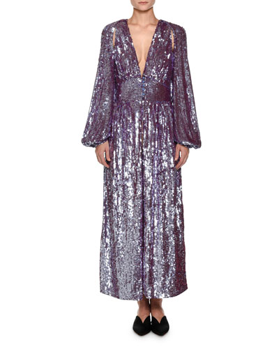 Plunging Long-Sleeve Tulle Evening Gown with Allover Sequins