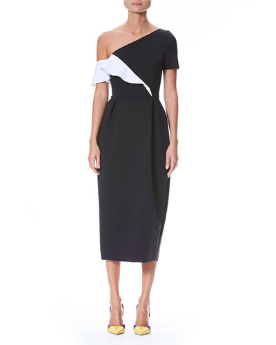 One-Shoulder Ruffle Neoprene Sheath Cocktail Dress